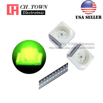 100PCS 1210 (3528) Green Light PLCC-2 SMD SMT LED Diodes Ultra Bright USA