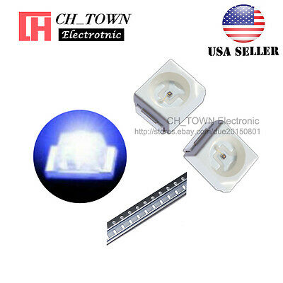 100PCS 1210 (3528) Blue Light PLCC-2 SMD SMT LED Diodes Ultra Bright USA
