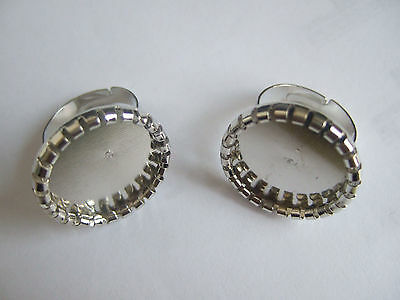 10 Antique Silver Tone Eco-Friendly Iron Ring Base Blanks Settings 16mm/20mm