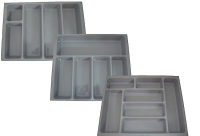 Kitchen Cutlery Tray Insert Grey To Fit 400Mm, 500Mm, 600Mm Drawer Plastic