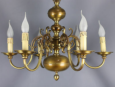 Antique  Dutch Brass  Chandelier  6 arms