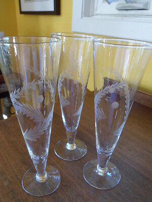 Vintage Wheat Etched Beer Glasses (3)