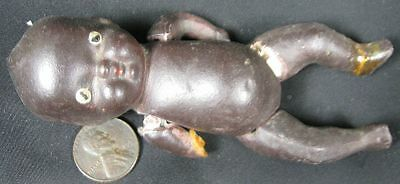 """Antique 1930's 4"""" Japan Jointed Little Black Baby Doll As Is"""
