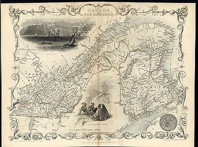 New Brunswick East Canada St Lawrence R. c.1850 antique Tallis decorative map