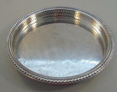 """Silver Plated Round Galleried Tray 12 ¼"""" Floral Etching"""