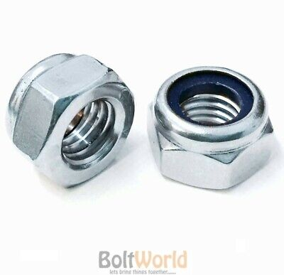 M10 / 10mm METRIC HEXAGON HEX NYLOC NYLON INSERT LOCKING NUTS BRIGHT ZINC PLATED