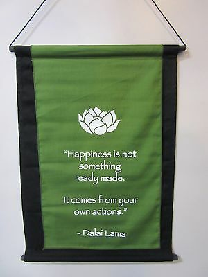 Mini Green Inspirational Lotus Flower Affirmation Wall Hanger Scroll