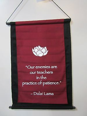Mini Burgundy Inspirational Lotus Flower Affirmation Wall Hanger Scroll