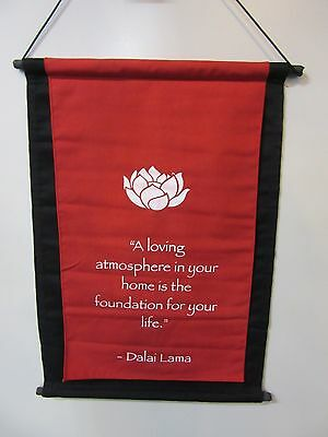 Mini Red Inspirational Lotus Flower Affirmation Wall Hanger Scroll