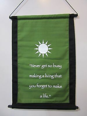 Mini Green Inspirational Sun Mandela Affirmation Wall Hanger Scroll
