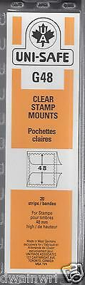 Uni-Safe Scott Prinz Split-Back #G48 mm Stamp Mounts 20 Clear strips German Made