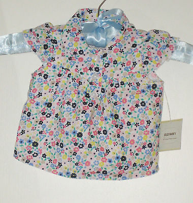 New OLD NAVY Size 0-3 Months Multi-Color 100% Cotton Flutter Sleeve Blouse Tops