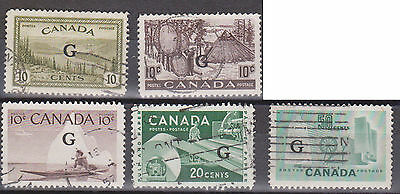 (LW17) 1946 Canada 8 official stamps 2c to 50c