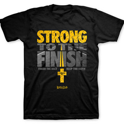 Christian Religious Kerusso STRONG TO THE FINISH Black Jesus T-Shirt Brand New