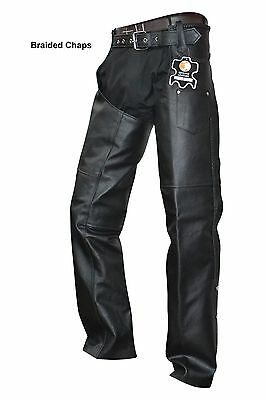 unisex cowhide leather mens ladies motorcycle biker chaps new all sizes
