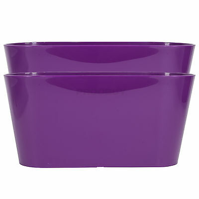 Set of 2 Purple Oval Indoor Plant Pot Covers Planters Herb Troughs Window Boxes