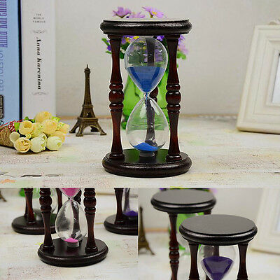 Retro Wood Frame Sand Glass Sandglass Hourglass Timer Clock Time Home Decor Gift