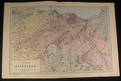 Environs Edinburgh Blyth Hill Scotland c.1890 antique color lithograph map