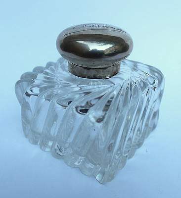 Large Victorian Silver & Cut Glass Inkwell, London 1894, John Grinsell & Sons