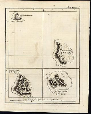 Mangeea Wateeoo Toobouai Polynesia South Pacific 1802 antique Capt. Cook map