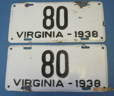 1938 Virginia License Plates Matched Pair low 2 digit number rare