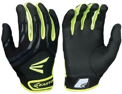 1pr Easton HF3 Hyperskin Womens Large Black / Optic Fastpitch Batting Gloves