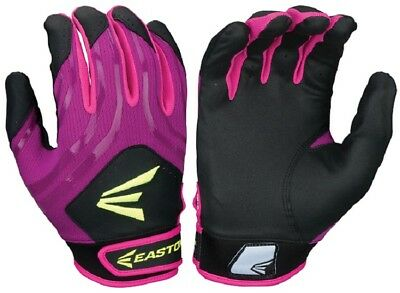 1pr Easton HF3 Hyperskin Womens Medium Black/Purple/Pk Fastpitch Batting Gloves
