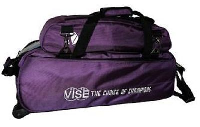 Vise Purple 3 Ball Tote Bowling Bag With Shoe Pouch