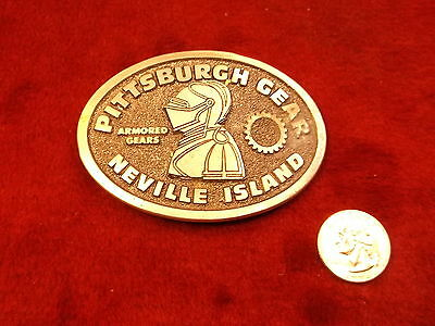 "Very Nice Old Vtg 1977 Pewter Belt Buckle ""Pittsburgh Gear, Neville Island, Vgc"