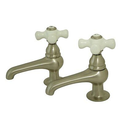 Kingston Brass Satin Nickel Basin Sink Vintage Style Bathroom Faucet KS3208PX