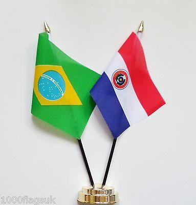 Brazil & Paraguay 1990 to 2013 Double Friendship Table Flag Set