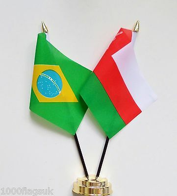 Brazil & Oman Double Friendship Table Flag Set