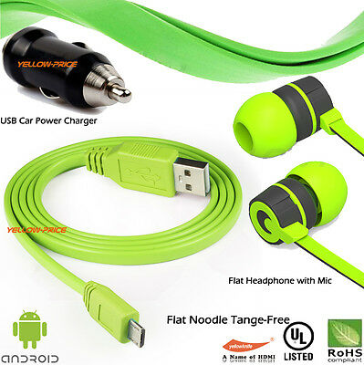 Stereo 3.5mm In Ear Headphone Earphone Headset Earbud Android Micro USB Cable