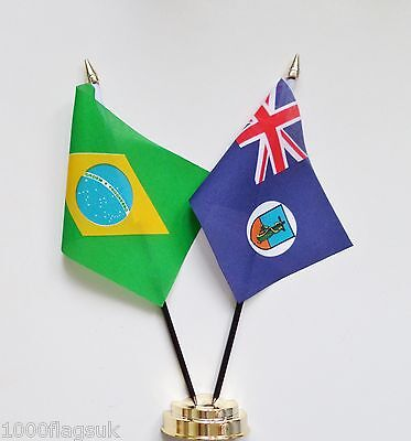 Brazil & Montserrat Double Friendship Table Flag Set