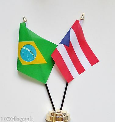 Brazil & Puerto Rico Double Friendship Table Flag Set