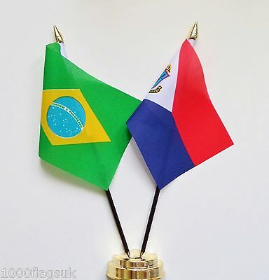 Brazil & Netherlands Sint Maarten Double Friendship Table Flag Set