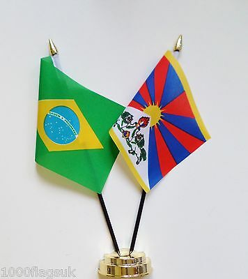 Brazil & Tibet Double Friendship Table Flag Set