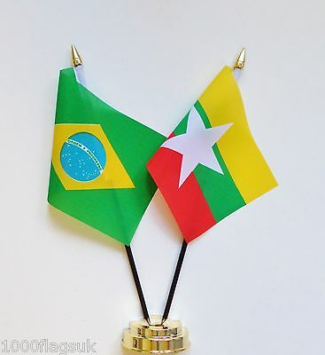 Brazil & Myanmar Double Friendship Table Flag Set