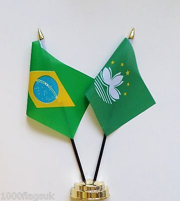 Brazil & Macao Double Friendship Table Flag Set