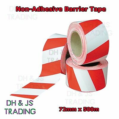Barrier Tape Red / White Non Adhesive Hazard Warning Cordon Tape 72mm 500m T17