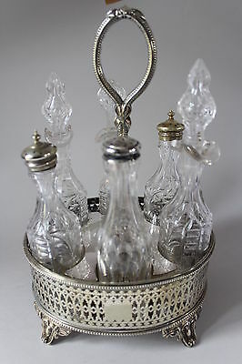 Antique Victorian EPNS Cruet Stand by Fenton Bros & Cut Glass Bottles circa 1870