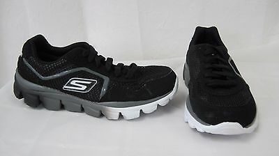 New Boy's Skechers Go Run Ride Supreme Athletic Shoe 95672L Black/Charcoal 58B