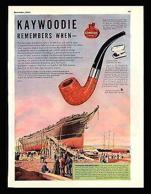 "Antique 1947 ""Kaywoodie Pipes"" Glory of the Seas Clipper Ship Art Print  Ad"