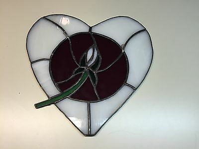 Unique Stained Glass Window Hanging Heart With Rose Floral Floral Design