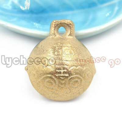 5X Vintage Chinese Tibet Tiger Head Design 27mm Brass Bell Pendant Hanging Lucky