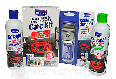 Selley's Ceramic Glass & Induction Cooktop Care Kit: Ceraseal, Cerapol, Scraper