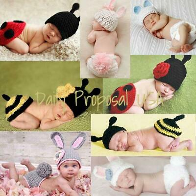 Handmade Newborn Baby Girl Boy Crochet Knit Hat Costume Easter Animal Photo Prop