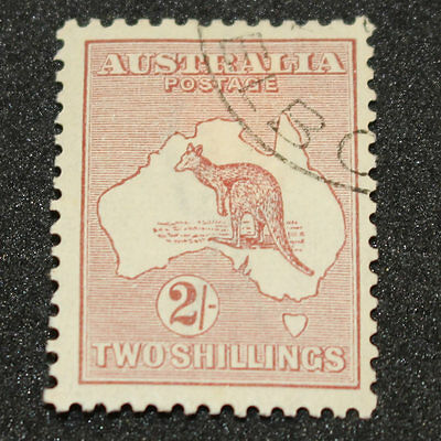 1924-1945 2 Shilling 2/- Maroon Kangaroo (38w) - Cancelled To Order - Hinged