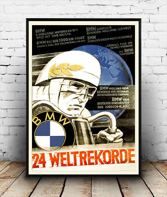 BMW 24 Weltrekorde, Vintage motorcycle race Reproduction poster, Wall art.