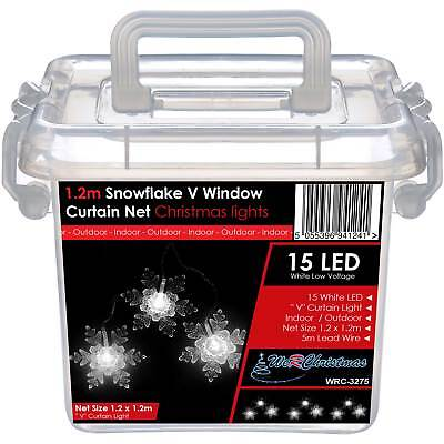 1.2 x 1.2m Snowflake V Window Curtain Net Christmas Lights with 15 White LED